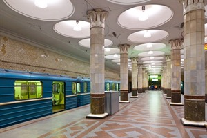 Interior of metro station in Moscow - Russia