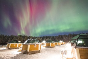 Aurora over the glass igloos