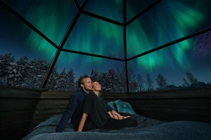 Enjoy spotting the northern lights from your bed