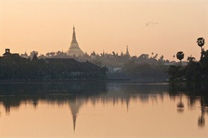 View of Shwedagon Pagoda in Yangon from Kandawgyi Lake