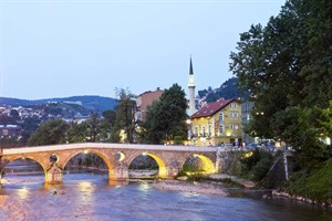 Bridge on the Miljacka river in Sarajevo