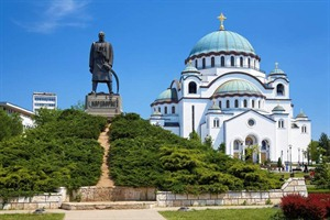 Monument  in front of the Cathedral of Saint Sava in Belgrade