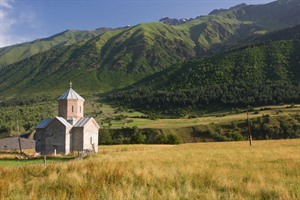 Georgian church at the Caucasus mountains