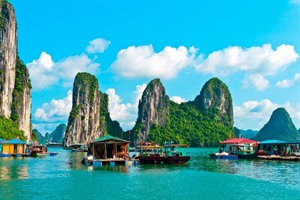 Floating village and rock islands in Halong Bay
